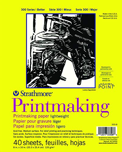 "Strathmore Paper Pad 300 Series Lightweight Printmaking, 8""x10"", White, 40 Sheets"