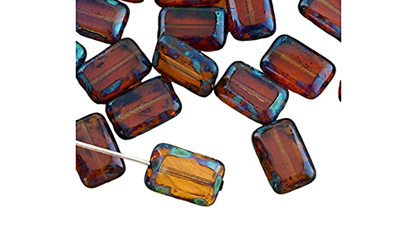 45pcs!! earthy colors 12X7mm Tropical Topaz Picasso Leaves Czech Glass Beads NEW!!