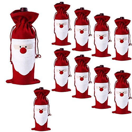 Megadream 10PCS Christmas Santa Claus Wine Bottle Decoration Bag Cover for Christmas Xmas Gift Dinner Party Table Decor – 10Packs