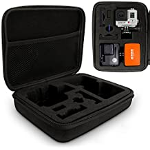 Optix Pro Large EVA Hard Travel Case Cover with Zip Closure & Removable Foam Inserts for GoPro Hero5, Hero4, Hero3+, Hero3, Hero2 & Hero1 Action Cameras