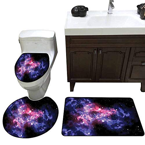 Printed Bath Rug Set Space Decorations Dusty Gas Cloud Nebula and Star Clusters in The Outer Space Cosmos Solar Deco Print 3 Piece Shower Mat Set Navy Purple]()