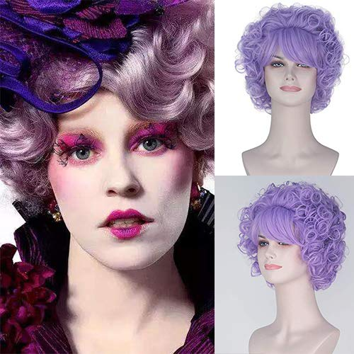 Hunger Games Effie Trinket Costume (Party Queen The Hunger Games Effie Trinket Cosplay Wigs Girl's Short Spiral Curly Wig Lavender Purple Lolita Cosplay Costume Wig)
