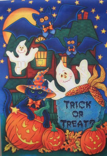 Trick Or Treat Haunted House Ghost Large Flag