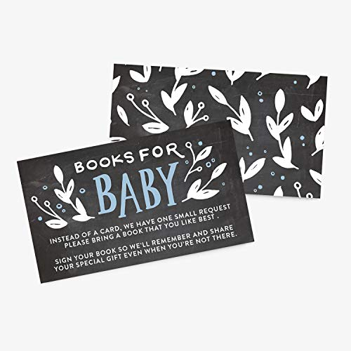 25 Books for Baby Shower Request Cards Boy Baby Shower Invitation, Blue Handlettered Chalkboard, Bring A Book Instead of A Card Cute Request