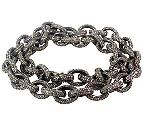 costozon rose cut diamond necklace 60 Tcw Rose Cut Diamond 925 Sterling Silver vintage art deco jewelry