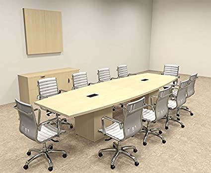 Amazoncom Modern Boat Shaped Cube Leg Feet Conference Table - 12 foot boat shaped conference table