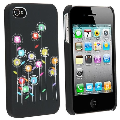 Rubberized Snap-On Case iPhone 4 - Multi Color Sunflowers