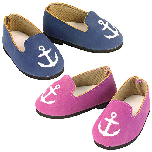 Sophia's 2 Pair Nautical Suede Loafers for 18 Inch Dolls in Raspberry & Navy ()