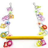 Smile Pig Lover Flexible Colorful Wooden Rainbow Bridge Ladder Cage Bird Hanging Toy Cage Rope Bungee Bird Swing Nest Toy Chewing Toy for Parrot,Swings,Ladders to Balance Exercise (4)