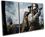 Bold Bloc Design - Battlefield One Army XBOX ONE PS4 Gaming 60x40cm TREBLE Canvas Art Print Box Framed Picture Wall Hanging - Hand Made In The UK - Framed And Ready To Hang