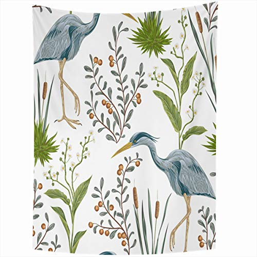 Ahawoso Tapestry 60x80 Inches Heron Bird Swamp Turquoise Plants Vintage Watercolor Style White Wall Hanging Home Decor Tapestries for Living Room Bedroom - Heron Wall Hanging