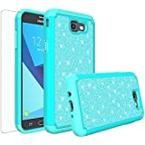 GALAXY WIRELESS For Galaxy J7v Case,Galaxy J7 Sky Pro Case,Galaxy Halo Case,Galaxy J7 Perx Case,Galaxy J7 Prime, Glitter Bling Heavy Duty Shock Proof Hybrid Girl Case with [HD Screen Protector] Mint
