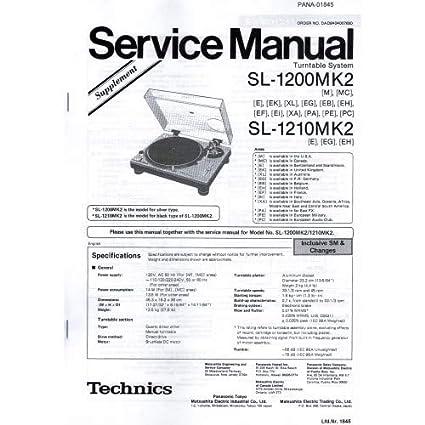 Technics Service manual para SL de 1200/1210 MK2: Amazon.es ...
