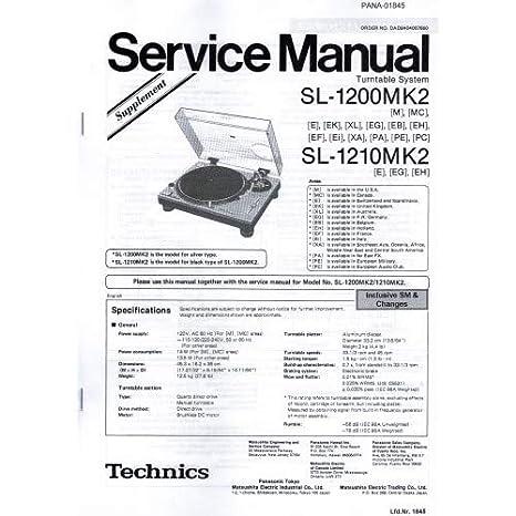 Technics Service Handbuch für SL-1200/1210 MK2