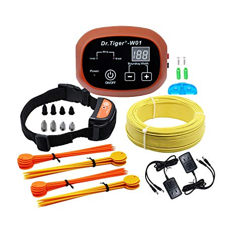 Dr.Tiger 1 Receiver Electric Dog Fence with Rechargeable Shock Collar, Wire In-Ground Dog or Cat Containment Fence System W01-G3, - Radio Collar Systems Bark