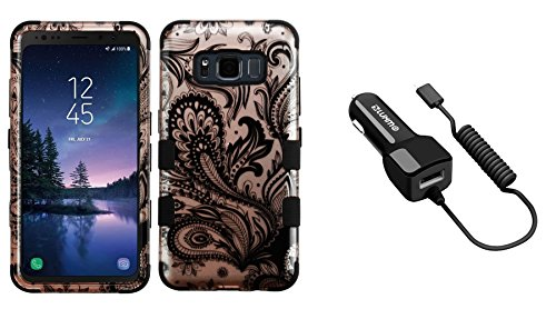 Samsung Galaxy S8 Active - Accessory Bundle: Heavy Duty [Military Grade  Certified] Rugged Case - [2D Paisley Flowers], 2 1A (2100 mAh Output) USB