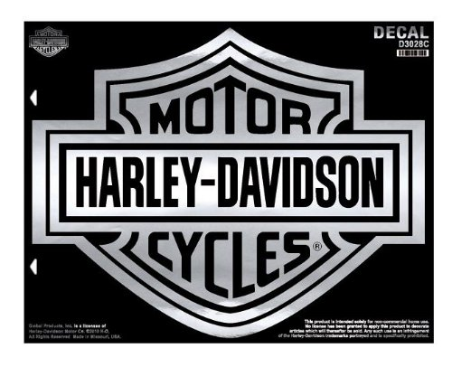 Harley-Davidson Bar & Shield X-Large Chrome Decal, X-Large Size -