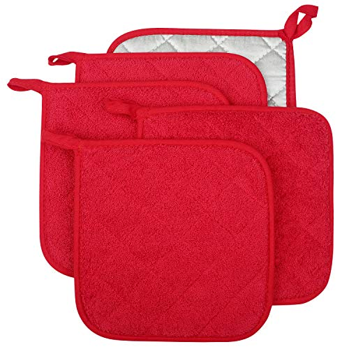 Lifaith 100% Cotton Kitchen Everyday Basic Terry Pot Holder Heat Resistant Coaster Potholder for Cooking and Baking Set of 5 Red (Spoon Casserole Rest)