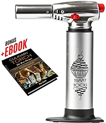 Yummy Tools Culinary Torch - Aluminum Kitchen Hand Butane Torch – Torch for Cooking with 2 Fire Modes + Bonus Recipe E-book – Good for Baking, Barbecue, Making Creme Brulee, Sauces from Yummy tools