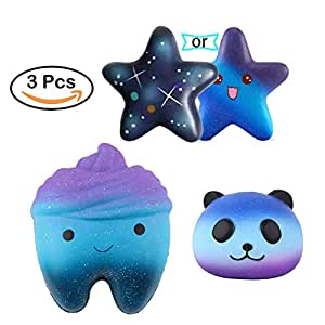 Slow Squeeze Toys,Bagvhandbagro 3Pcs Blue Star+Blue Tooth+Blue Panda Squishy Cream Scented Decompression Squeeze Toys for Collection Gift, decorative props Large or Stress Relief
