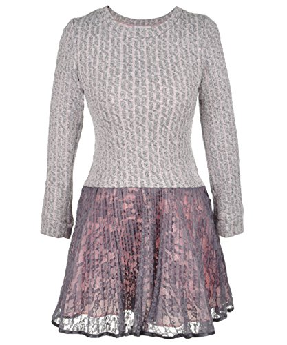 Big Girls Plus Pink/Ivory Cable Knit to Crystal Pleat Lace Drop Waist Dress, W8-GP20-WIN15-Bonnie Jean, Pink, (Bonnie Jean Ivory Dress)