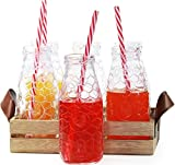 (US) Circleware Country Rooster, Set of 13, Glass Milk Drink Bottles with Strong Straws and Wooden Tray, 10 Ounce, 6 Beverage Cups, 6 Straws 1 Wooden Tray with Handles, Limited Edition Glassware Drinkware