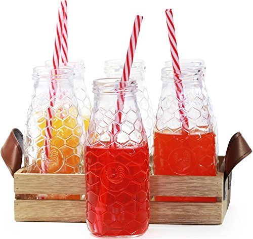 Circleware Country Rooster, Set of 13, Glass Milk Drink Bottles with Strong Straws and Wooden Tray, 10 Ounce, 6 Beverage Cups, 6 Straws 1 Wooden Tray with Handles, Limited Edition Glassware Drinkware (Candy Glass Rooster)