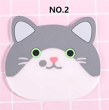Compra PvxgIo Posavasos de Aislamiento de Silicona Posavasos Antideslizante de Gato Lindo_Número 2 Cat en Amazon.es