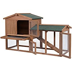 """58"""" Large Wooden Rabbit Hutch Chicken Coop Bunny Animal Hen Cage House w/Run Solid Fir Wood Superior Strength Durability Premium Galvanized Wire Run Protects Air Circulation Ladder Outdoor Run Water-r"""