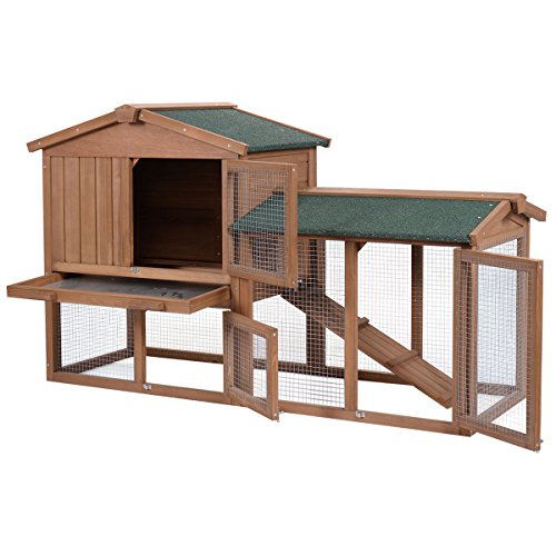Tangkula Large Chicken Coop Wooden Outdoor Bunny Rabbit Hutch Hen Cage with Ventilation Door,...