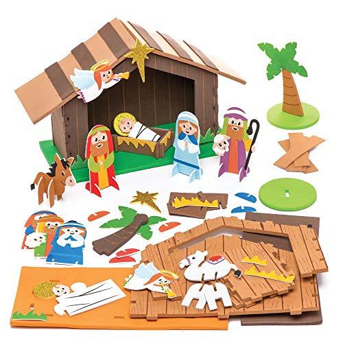 Kit in Gommapiuma Ar779 Presepe con Stalla Baker Ross (Confezione da 2)- Creativi Articoli Natalizi e Artigianali per Bambini da Realizzare e Decorare, Multicolore