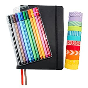 """Wonderful Washi Bullet Journal Set BLACK - Includes Hard Cover A5 5.7"""" x 8.3"""" Journal (120 dotted pages), 12 Multi-color Fine liner Pens (0.4 Point), 12 Rolls of Washi Tape"""