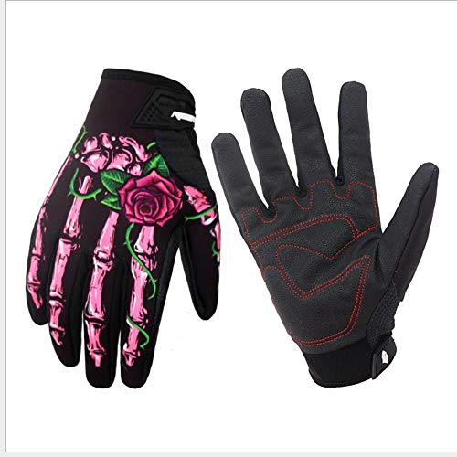 Men's Breathable Full Finger Cycling Gloves Waterproof Windproof Touchscreen Racing Bikeing Training Gloves with Skeleton Pattern for Autumn and Winter (Pink, L) -