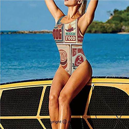 Homenon Fashion Swimming Suit,Tin Signs and Retro Mexican Aged,High Cut Swim-Suit