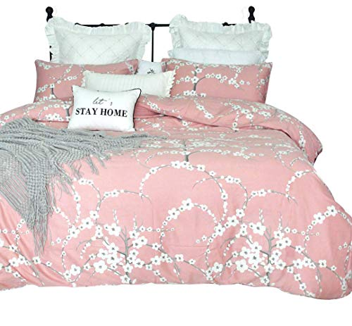 SexyTown Reversible Floral Branches Print Duvet Quilt Cover Japanese Oriental Style Cherry Pink Blossom Comforter Set Luxurious Quilt Cover Sets Cal King Pattern D