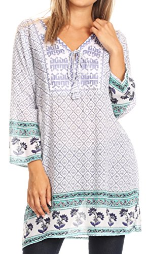 Sakkas 20171 - Dalila Soft Crinckle Damask Printed Cotton Tunic Blouse with Embroidery - Blue - XL