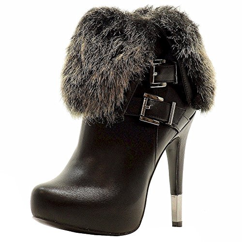Luichiny Hot Boot Shoes Seat Womens Fashion Stiletto Ankle Black BBHrq