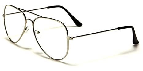 51d0419fd3d Image Unavailable. Image not available for. Color  Silver Aviator Sport  Thin Wire Rims Men Women Clear Lens Glasses