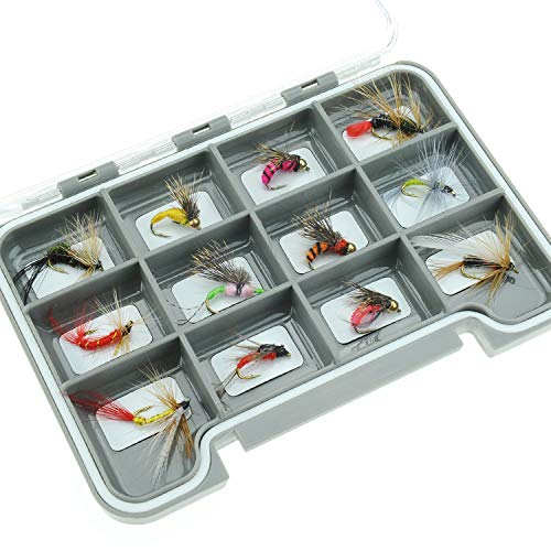 Piscifun 12pcs Wet Flies Fly Fishing Lures Bass Salmon Trouts Sinking Flies Assortment with Fly Box 10# Hook