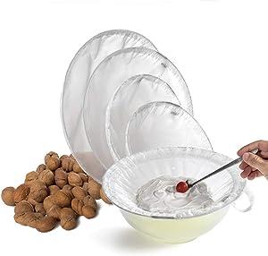 TENRAI Nut Milk Bag, Multiple Usage Reusable Food Strainer - Fine Mesh Nylon Almond Milk Bags - Cold Brew Coffee/Yogurt Filter/Ring (5 Sizes 100 Micron)
