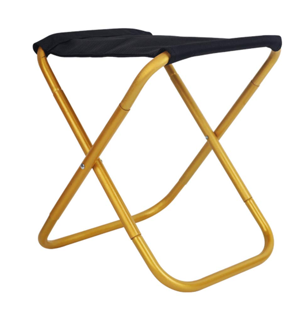 YANGYA Portable Folding Stool Chairs Outdoor Foldable Small Lightweight Iron Pipe Stools Seat for Camping Fishing Picnic BBQ Travel Hiking Garden Beach-Gold-M