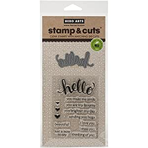 Hero Arts Stamp and Cut Hello Stamp with Matching Die Cut Set