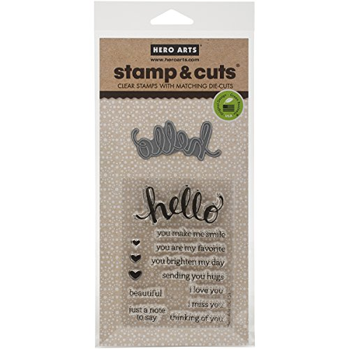 Hero Arts DC151 Stamp and Cut Hello Stamp with Matching Die Cut Set by Hero Arts