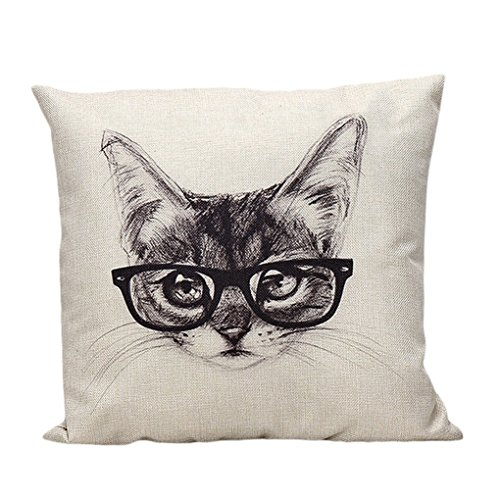 Winhurn Super Lovely Cat with Glasses Pillow Case Cover for Sofa Home Decor