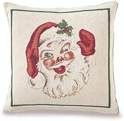 Mud Pie Home Vintage Christmas Woven Tapestry Santa Decor Pillow 15 Square