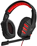 Sentey GS-4531 Symph USB Gaming Headset 7.1 Virtual Surround Computer Pc Headphones Sound with Inline Volume Control and Mic Adjustable Headband RED Lights and Retractable Microphone Retractable