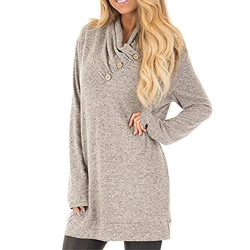 Long Sleeve Pullover Sweatshirt Women Button Cowl Neck Casual Tunic Tops, Fashion Blouse