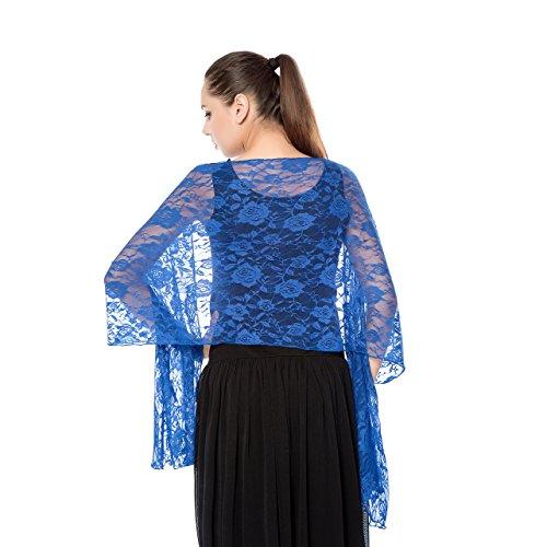 Women Lightweight Rose Lace Shawl, Gzcvba Bridal Evening Party Wrap Scarf (Royal Blue)