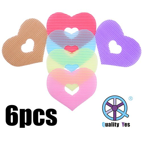 QY 6PCS Colorful Magic Bangs Hair Pad Hair Pad Hair Fringe Care Tool Makeup Accessories Lovely Heart Shape - Hair Tools Velcro