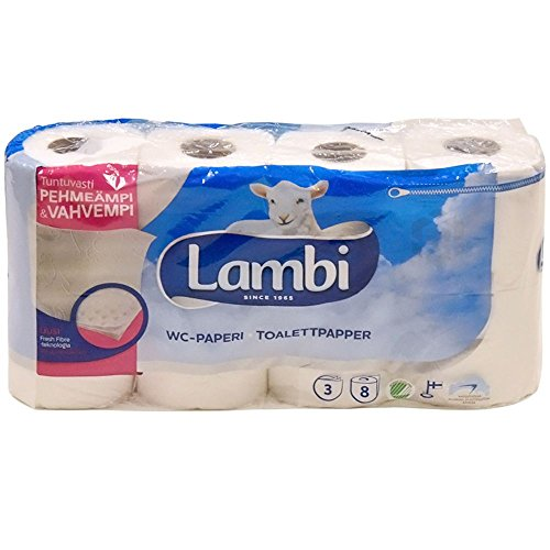 Lambi 3-layered toilet paper 10cm wide, 19,1m/roll by Lambi